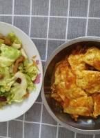 番茄蛋餃,手撕包菜