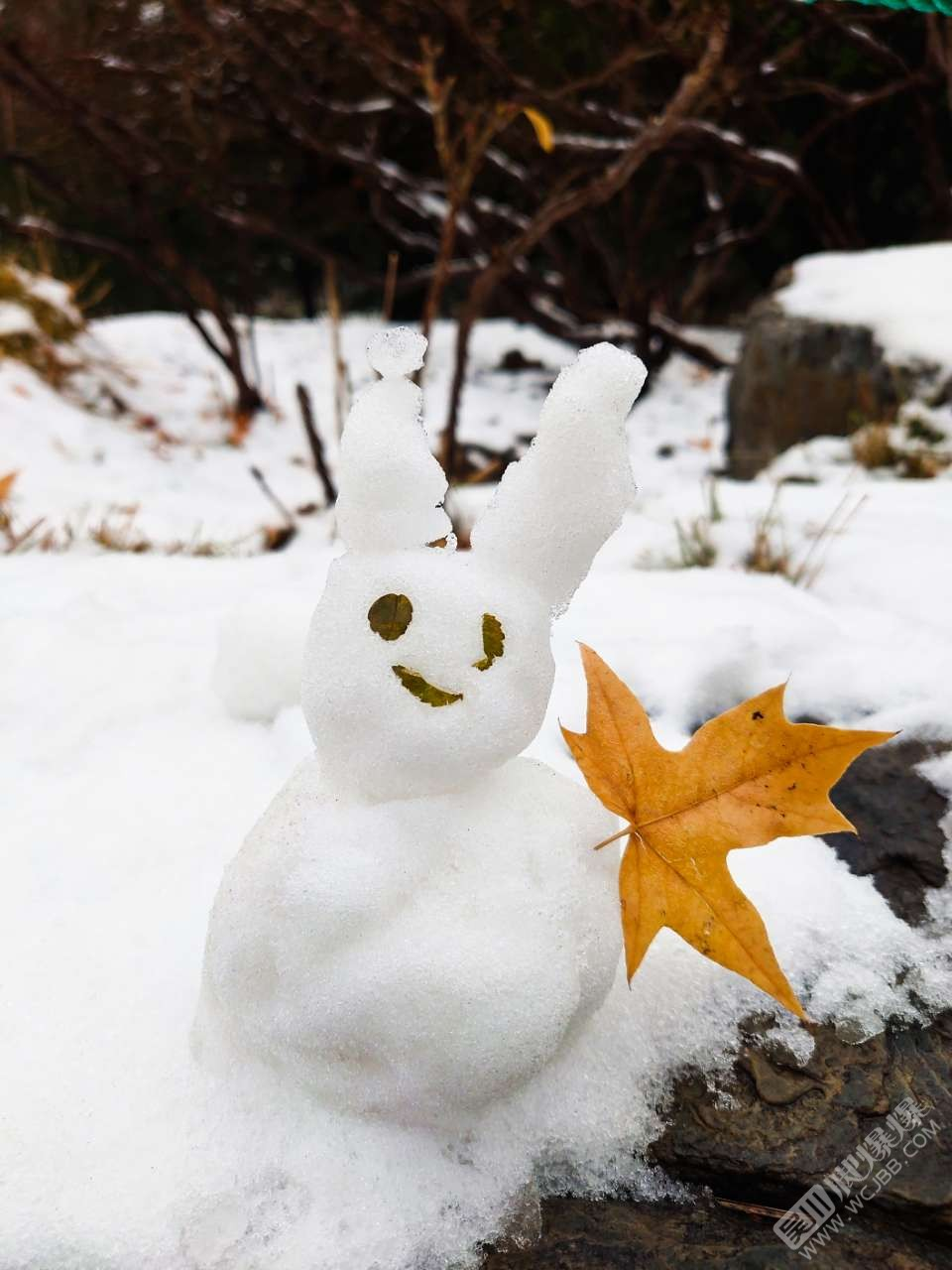 在北京堆的雪人。