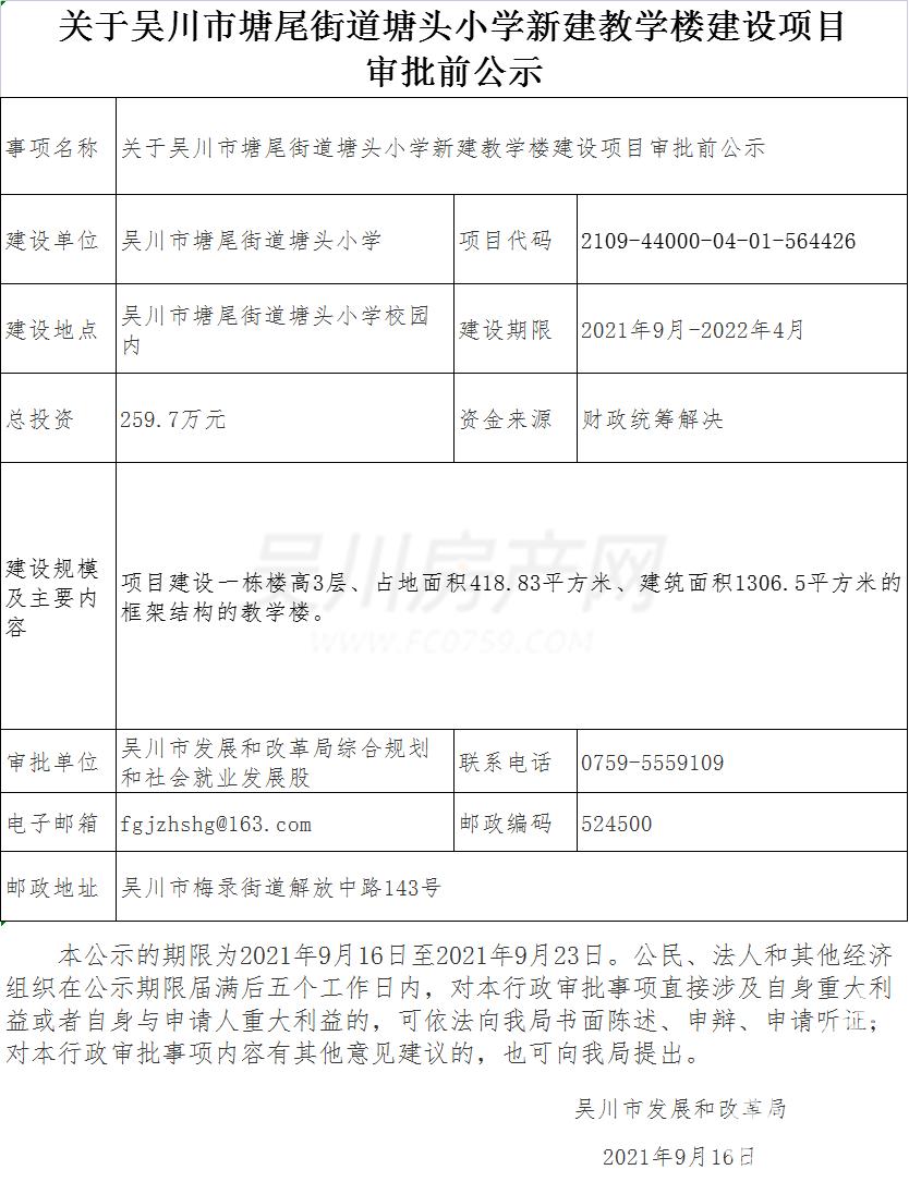 期待!吳川塘尾街道一小學將新建一棟教學樓,投資259.7萬元!